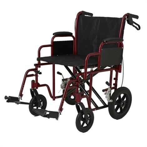 "Medline Bariatric Transport WheelChair,22"" Width,Red,Each,MDS80822B"