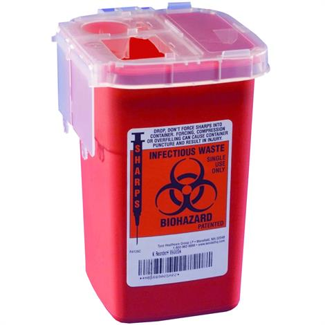 """Cardinal Health Phlebotomy Sharps Container with Needle Remover,3-1/2"""" x 3-1/2"""" x 10"""",40/Pack,#158"""