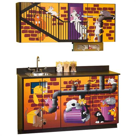 Clinton Pediatric Imagination Series Alley Cats and Dogs Base and Wall Cabinets,0,Each,6137-BW