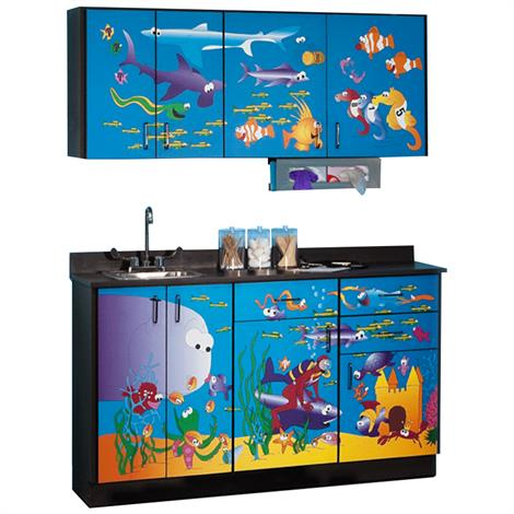 Clinton Pediatric Imagination Series Ocean Commotion Base and Wall Cabinets,0,Each,6136-BW