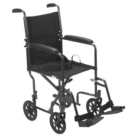 "Drive Steel Transport Chair With Fixed Full Arms,Seat 17""W x 16""D,Each,TR37E-SV"