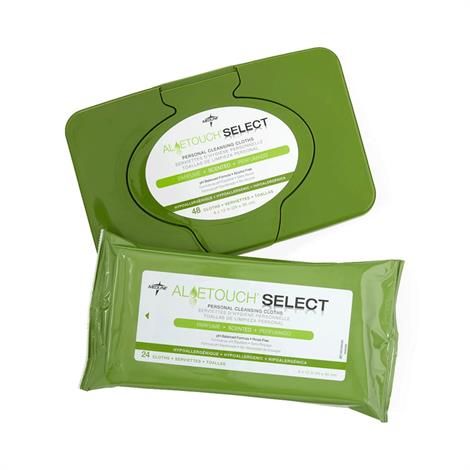"Medline Aloetouch SELECT Premium Spunlace Personal Cleansing Wipes,8"" x 12"" (20cm x 30cm),Scented,24/Pack,MSC095280"