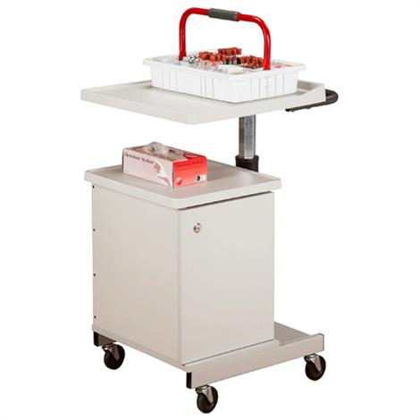 Clinton Large H-Base Pneumatic Four-Bin Phlebotomy Cart,Cart with Single Stainless Glove Box Holder,Each,67203-GS-3000
