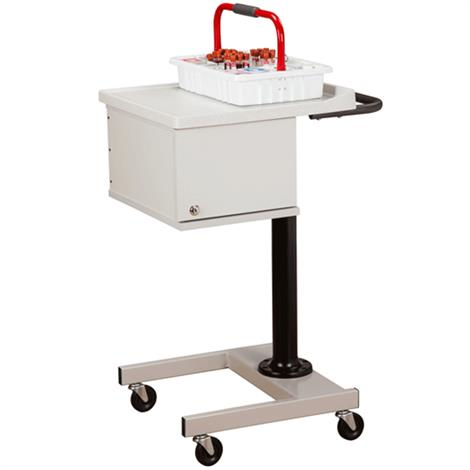 Clinton Small H-Base Pneumatic Two-Bin Phlebotomy Cart,Cart with Single Stainless Glove Box Holder,Each,67202-GS-3000