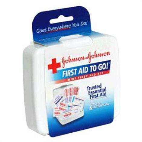 """Johnson & Johnson Mini First Aid Kit,4"""" H x 4-1/2"""" W x 1"""" D,Each,8295"""