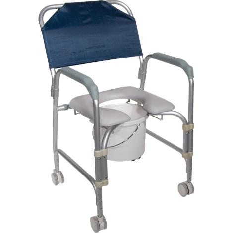 Drive Knock Down Aluminum Shower And Commode Chair With Casters,Shower Chair and Commode,Each,11114KD-1