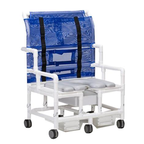 Columbia PVC Hi-Back Bariatric Shower and Commode Chair,Shower and Commode Chair,Blue,Each,5085