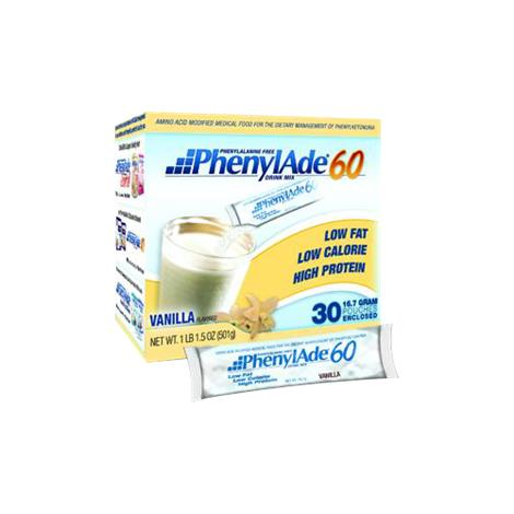 Applied PhenylAde 60 Drink Mix Pouch,16.7gm Pouch,Unflavored,30/Pack,95604