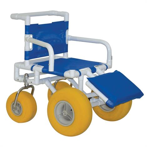 MJM All Terrain Beach Wheelchair,Wheelchair with Padded Elevating Leg Rest,Each,722-ATC-ELR-YEL