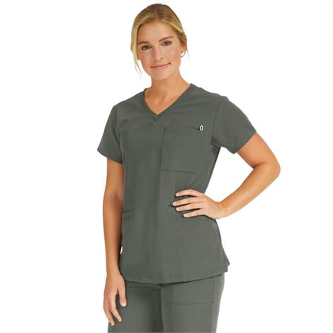 Medline Berkeley Ave Women Stretch Fabric Tunic Scrub Top With Pockets Olive,2X-Small,Each,5582OLVXXS