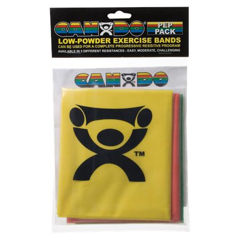 CanDo Low-Powder Exercise Band PEP Pack,Moderate with Green,Blue,Black Bands,Each,#10-5282
