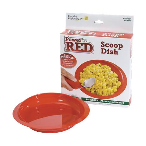 Essential Medical Power of Red Scoop Dish with Suction Bottom,Scoop Dish,Each,L5032