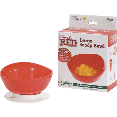 Essential Medical Power of Red Large Scoop Bowl with Suction Botton,Large Scoop Bowl,Each,L5031 ESSL5031