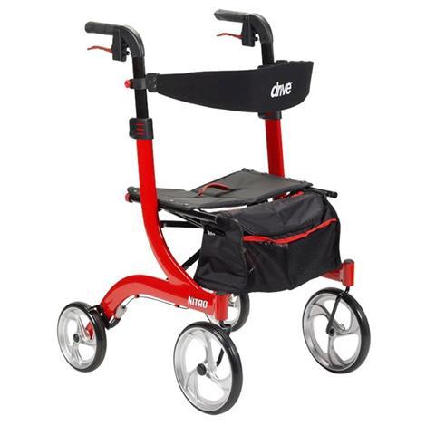 Drive Nitro Euro-Style Hemi Height Aluminum Four Wheel Walker Rollator,Black,Each,RTL10266BK-H