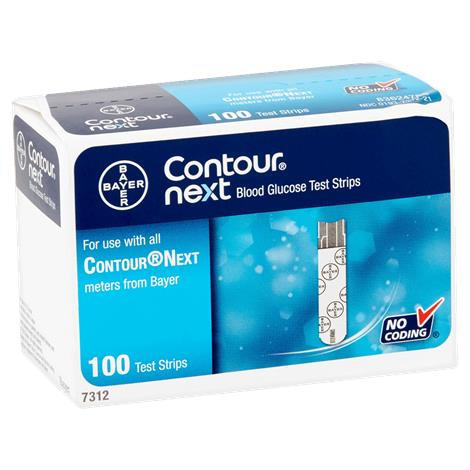 Bayer Contour Next Test Strips,Strips,100/Pack,7312