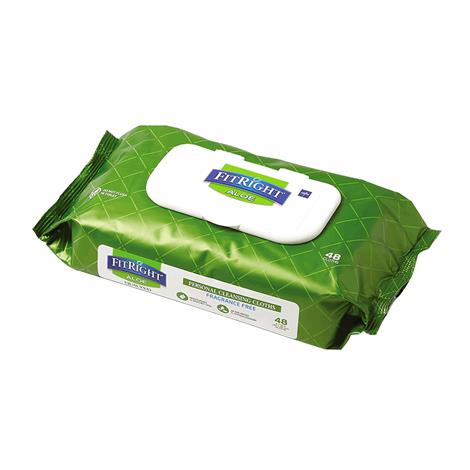 """Medline Aloetouch Quilted Personal Cleansing Wipes,8"""" x 12"""" Wipes,48/Pack,12/Case,MSC263625"""