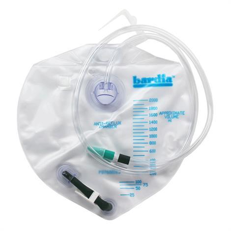 Bard Bardia Closed System Urinary Drainage Bag,Flexible Hook and Loop Cloth Strap,2000ml,20/Pack,802002