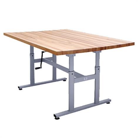 "Hausmann Deluxe Crank Butcher Block Work Table,60""L x 28""W x 27""-39""H,Each,4325"