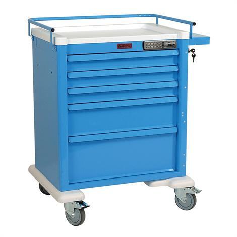 Harloff Aluminum Universal Line Medium 5 Drawer Procedure Cart With Basic Electronic Pushbutton Lock,Beige,Each,AL808E5-BG