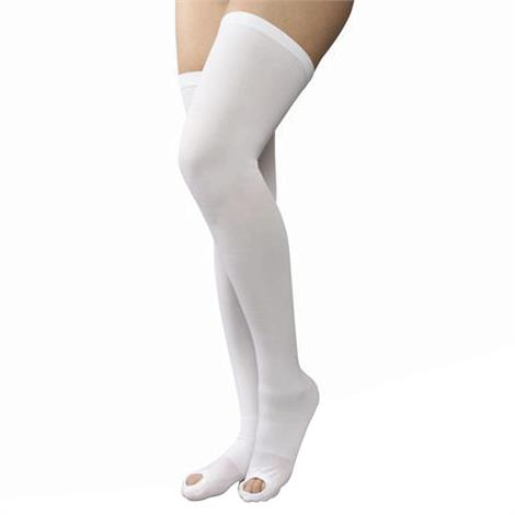 AT Surgical Womens Thigh High Open Toe 15-20 mmHg Compression Support Stockings,Beige,Large,15-17,2/Pack,49 - B - L