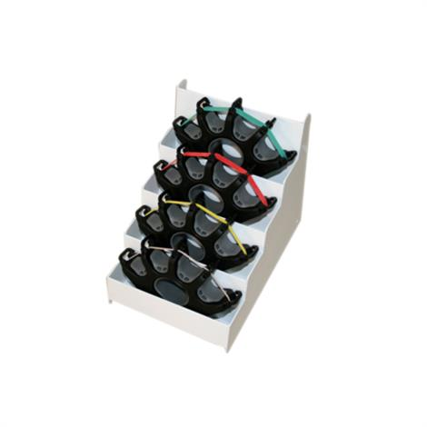 CanDo Digi Extend Hand Exercisers,4 Exercisers with 64 Bands (16 each tan,yellow,red,green),Metal Rack,Each,10-0757