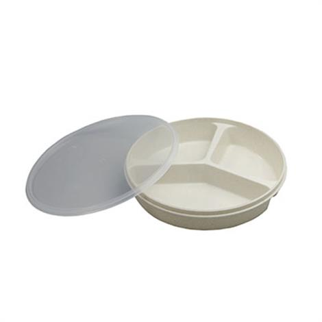"Fabrication Partitioned Scoop Dishes,Scoop Dish with Cover,Red,8"",Each,62-0131"