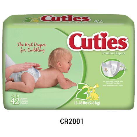 Cuties Diapers,Size 1,8lb to 14lb,50/Pack,4Pk/Case,CR1001
