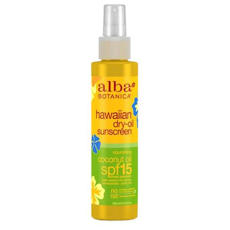 Alba Botanica Hawaiian Coconut Dry Oil Sunscreeen With SPF 15,4.5fl oz,Each,040872-4