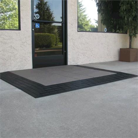 SafePath Three-Sided EntryLevel Landing Ramp - 1 Inch Height,60L x 48W x 1H,Black Rubber,Each,EL3 1 6048 B