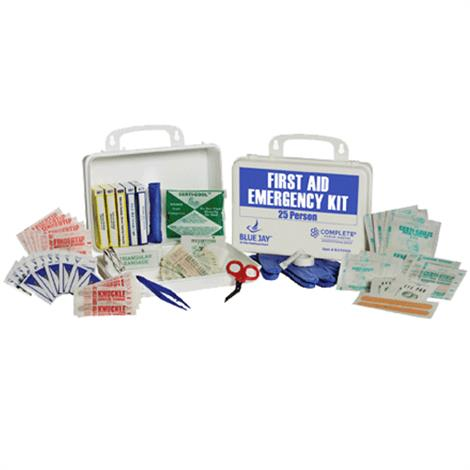 """Complete Medical 25 Person First Aid Emergency Kit,Plastic Box,10"""" x 7"""" x 3"""",Each,BJ170105"""