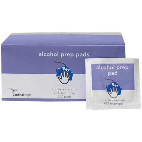 Cardinal Health Alcohol Prep Pad,Medium, 6.5cm x 3cm,200/Pack,MW-APM