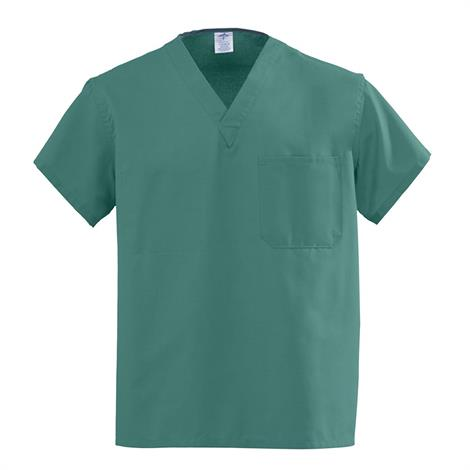 Medline AngelStat Unisex Reversible V-Neck Scrub Tops - Emerald,Large,Each,610NJTL-CA