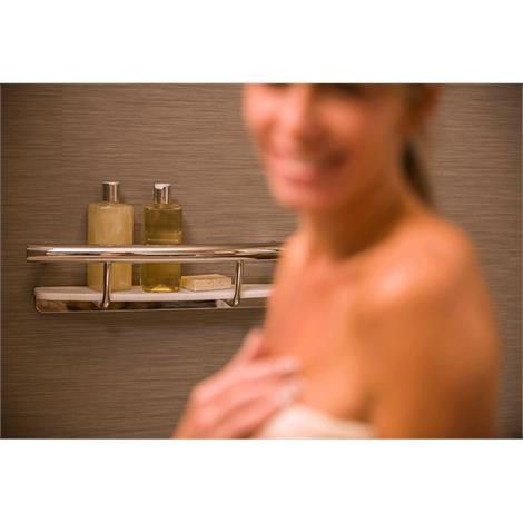 HealthCraft Invisia 2-in-1 Shampoo Shelf With Integrated Grab Bar,Brushed Stainless,Each,INV-SHS-BS