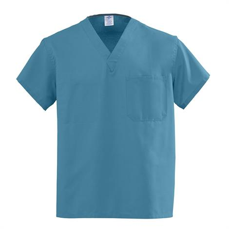 Medline AngelStat Unisex Reversible V-Neck Scrub Tops - Peacock,XX-Large,Each,610NBTXXL-CM
