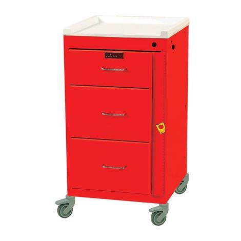 Harloff Mini Line Three Drawer Emergency Cart With Breakaway Lock,Hammer Red,Each,3143B-HRD