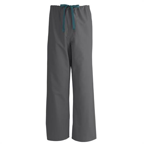Medline AngelStat Unisex Reversible Drawstring Scrub Pants - Charcoal,Small,Each,600NCCS-CM