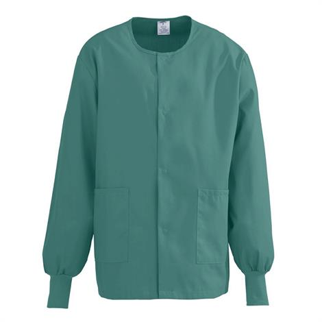 Medline ComfortEase Unisex Crew Neck Warm-Up Jacket - Evergreen,Small,Each,8832JEGS