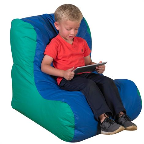 """Childrens Factory School Age High Back Lounger,30"""" x 28"""" x 27"""",Blue and Green,Each,CF610-068"""
