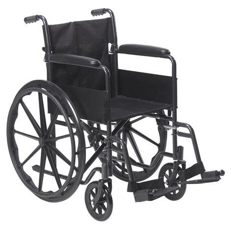 "Drive Silver Sport 1 Single Axle Wheelchair,Seat 18""W x 16""D, With Swing-Away Footrests,Each,SSP118FA-SF"
