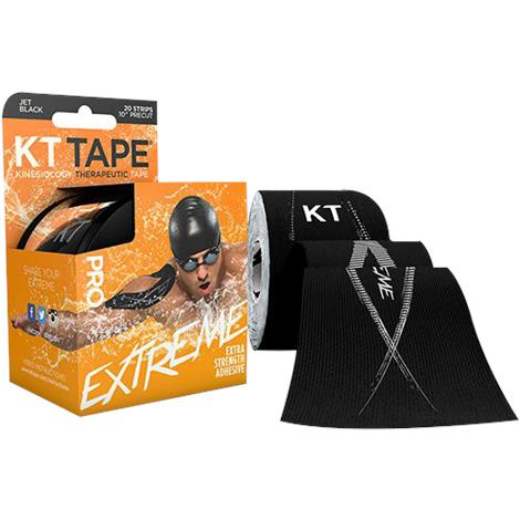 "KT Tape Pro Extreme Kinesiology Sports Tape,Black,4"" x 4"",20/Pack,902013-0"