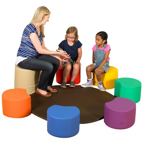 """Childrens Factory Painters Stool with Teachers Seat and Mat,64"""" x 64"""" x 16"""",Each,CF805-011"""