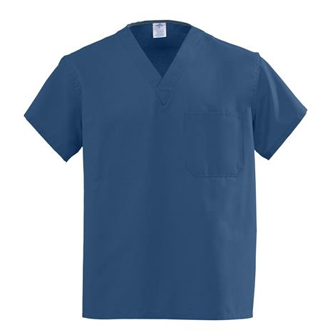 Medline AngelStat Unisex Reversible V-Neck Scrub Tops - Navy,Small,Each,M610NNTS-CM