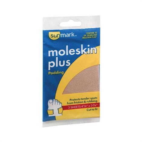 "McKesson Sunmark Moleskin Plus Protective Pad,3-3/8"" x 4-1/8"",3/Pack,1093904433"