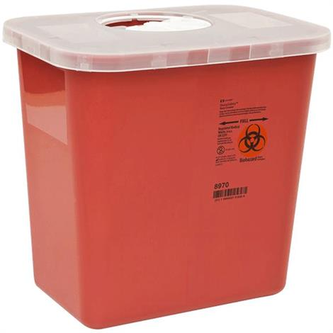 Covidien Kendall Multi Purpose Sharps Container with Lid,2 Gallon,Red with Clear and Hinged Lid,Each,8990SA