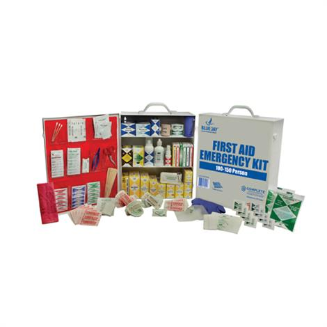 """Complete Medical 100-150 Person First Aid Emergency Kit,Metal Case,White,16"""" x 13.5"""" x 5.5"""",Each,BJ170110"""
