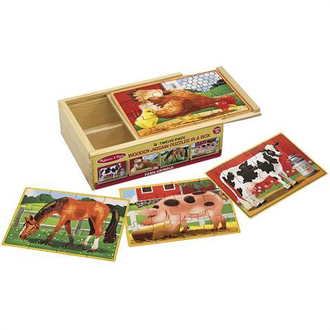 Melissa & Doug Farm Animals Jigsaw Puzzles In A Box,2.5 x 6 x 8,Each,3793