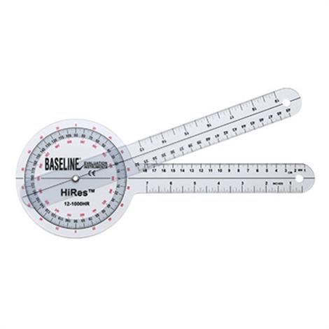 Baseline Plastic Goniometer - HiRes 360 Degree,360 Degree Head - 12 inch Arms,Each,12-1000HR