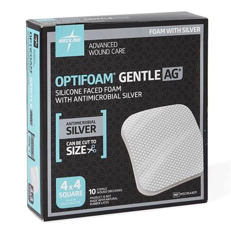 Medline Optifoam Gentle Silicone Face Non Border Dressings,Size 4 x 4,10/Box,MSC9544EPZ
