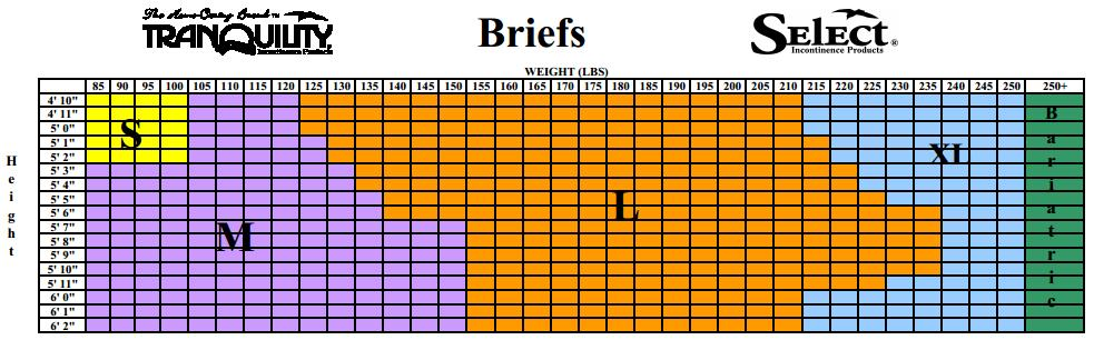 Tranquility Brief Size Chart