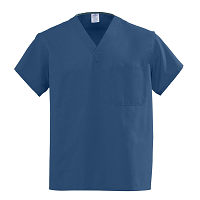 Medline AngelStat Unisex Reversible V-Neck Scrub Tops - Navy